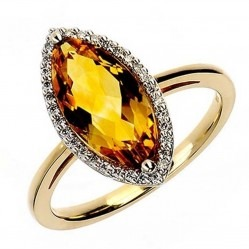 9ct Yellow Gold Citrine and Diamond Marquise Cluster Ring 9DR323-CT-2C