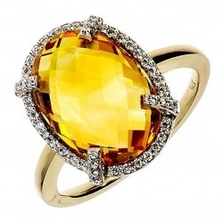 9ct Gold Citrine Diamond Halo Ring 9DR330-CT-2C