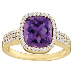 9ct Gold Amethyst and Diamond Cluster Ring SKR11996 M