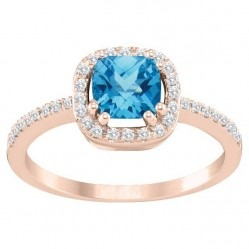 9ct Rose Gold Diamond Blue Topaz Cluster Ring SKR12209-B/T M