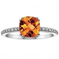9ct White Gold Cushion-cut Citrine Diamond Shouldered Ring 51X68WG-10 CIT
