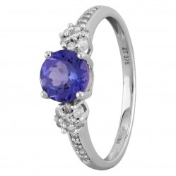 9ct White Gold Round Tanzanite and Diamond Cluster Trilogy Ring OJR0266-T2A