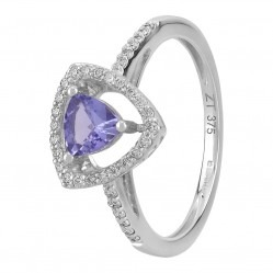 9ct White Gold Trillion-cut Tanzanite and Diamond Cluster Ring OJS0009R-T2A-9KW