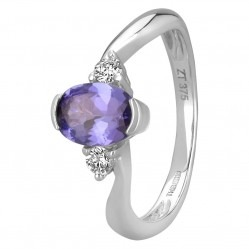 9ct White Gold Oval Tanzanite And Diamond Trilogy Twist Ring BSR0014-T2A-9KW