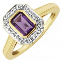 9ct Gold Emerald-Cut Amethyst and Round Diamond Cluster Ring DAR1410