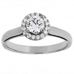 Arctic Circle Diamonds 18ct White Gold Round Brilliant Diamond Halo Ring UKR10957