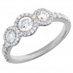 Arctic Circle Diamonds 18ct White Gold Round Brilliant Trilogy Cluster Ring UKR11019