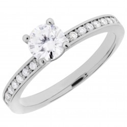 Arctic Circle Diamonds 18ct White Gold Solitaire Diamond Shouldered Ring UKR10956