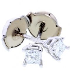 Arctic Circle Diamonds 18ct White Gold 0.25ct Diamond Princess Cut Studs UKE234925