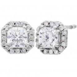 Arctic Circle Diamonds 18ct White Gold 0.96ct Ideal Square Cut Diamond Cluster Stud Earrings UKE2368