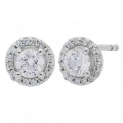 Arctic Circle Diamonds 18ct White Gold 0.53ct Round Brilliant Diamond Halo Stud Earrings UKE2369