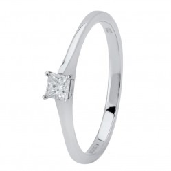 Platinum 0.15ct Princess-cut Diamond Solitaire Ring PAR5 M