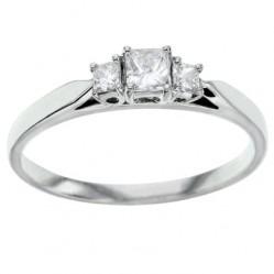 Platinum 0.31ct Princess Cut Trilogy Diamond Ring PBR33 M
