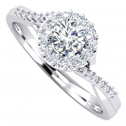 Platinum Diamond Cluster with Crossover Shoulders Ring 0.43ct 9679/PL/DQ7