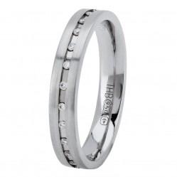 Palladium 3mm Flat Court Matt Diamond-set Wedding Ring XD775 PD N