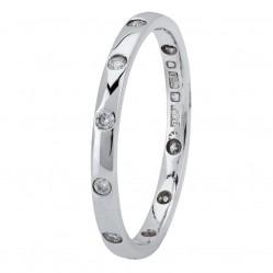 18ct White Gold 2mm Court Diamond-set Wedding Ring XD133 18K