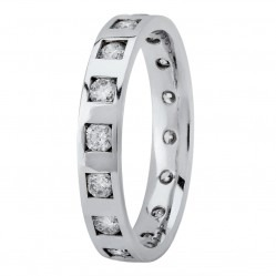 18ct White Gold 3mm Flat Diamond-set Wedding Ring 04394