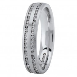 18ct White Gold 4mm Flat Court Two Row Eternity-set Diamond Wedding Ring XD548 18K