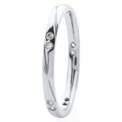 18ct White Gold Diamond Set Court Wedding Ring XD300 18K