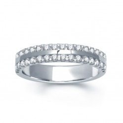 18ct White Gold 2 Row Diamond Flat Court R5169K6W18