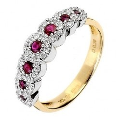 18ct Gold 2 Colour 7 Stone Ruby Diamond Cluster Ring 18DR236/R/2C/P
