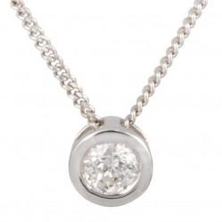 Mastercut Contemporary 18ct White Gold Single Stone Rubover 0.15ct Diamond Pendant C2PE002 015W