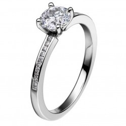 Mastercut Simplicity Four Claw 18ct White Gold 0.50ct Diamond Shouldered Ring C5RG007 050W