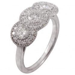 Mastercut Vintage 18ct White Gold 0.80ct Diamond Triple Cluster Ring C6RG002 040W