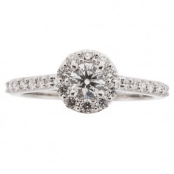 18ct White Gold 0.75ct Certificated Diamond Halo Cluster Ring 3178WG/100-18 O