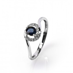 9ct White Gold Sapphire and Diamond Oval Cluster Twist Ring GR468L