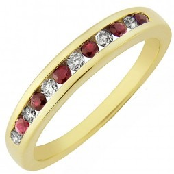 9ct Gold Ruby and Diamond Channel Set Half Eternity Ring DRR115