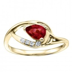 9ct Yellow Gold Pear-cut Ruby and Diamond Ring 51Z88YG-10