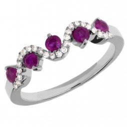 9ct White Gold Ruby and Diamond Wave Half Eternity Ring DRR849W