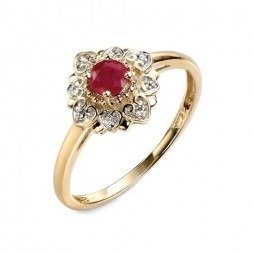 9ct Gold Ruby and Diamond Flower Cluster Ring GR428R R