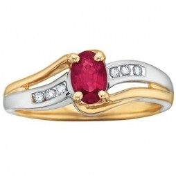 9ct Two Colour Gold Ruby and Diamond Ring 51T37-7