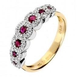 18ct Two Colour Gold Ruby and Diamond Halo Half Eternity Ring 18DR236-R-2C