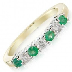 9ct Seven stone Emerald and Diamond Half Eternity Ring DER799 O