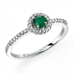 9ct White Gold Emerald Diamond Halo Ring GR417G