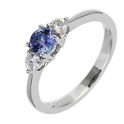 18ct White Gold Tanzanite and Diamond Three Stone Ring 18DR181-TZ-W