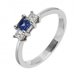 18ct White Gold Tanzanite and Diamond Three Stone Ring 18DR182-TZ-W