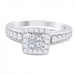 18ct White Gold Diamond Square Cluster Ring SKR15077-100E