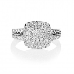 18ct White Gold Square Diamond Cluster Ring SKR15868-100