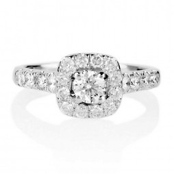 18ct White Gold 1.00ct Square Diamond Cluster Ring SKR15627-100