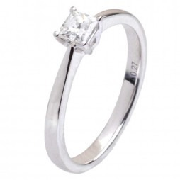 18ct White Gold Single Stone Princess-cut 0.27ct Diamond Ring 18DR422-W