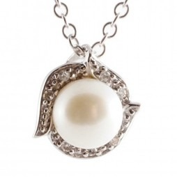 9ct White Gold Diamond Freshwater Pearl Pendant GN192