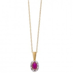 9ct Gold Oval Ruby and Diamond Cluster Pendant BS0006P-R YG