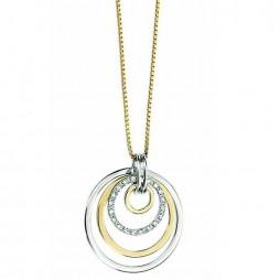 9ct Two Tone Gold Diamond Open Circles Pendant GP614 GN151