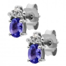 9ct White Gold Oval Tanzanite and Diamond Stud Earrings VE04846 9KW/TANZ