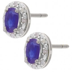9ct White Gold Oval Tanzanite and Diamond Cluster Earrings BS0006E-T2A