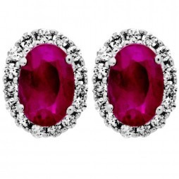 9ct White Gold Oval Ruby and Diamond Cluster Stud Earrings DE140W-RUB